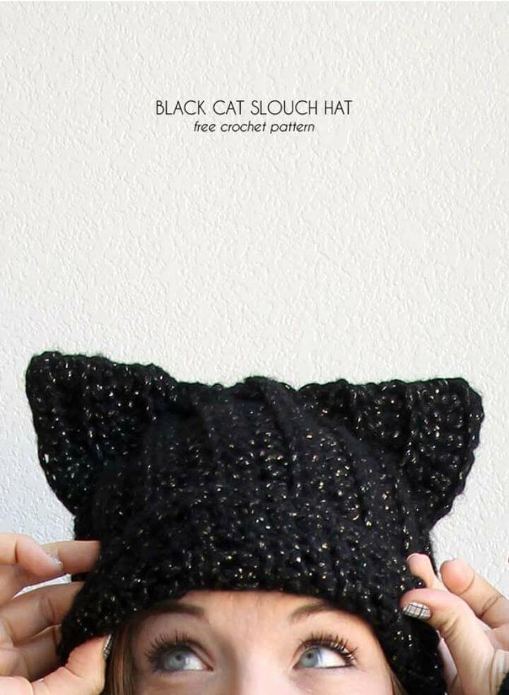 Free Crochet Black Cat Slouch Hat – Free Crochet Cat Hat Pattern