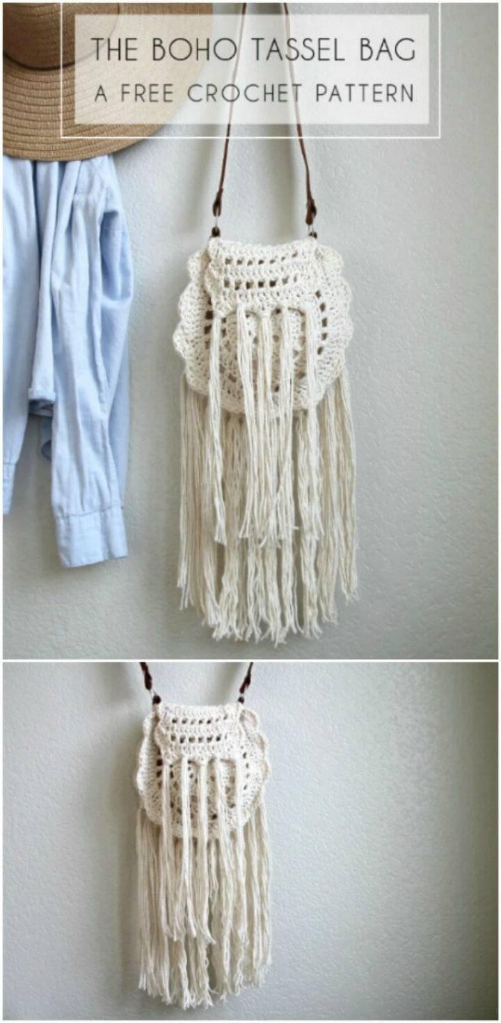Easy Crochet Boho Tassel Bag – Free Pattern