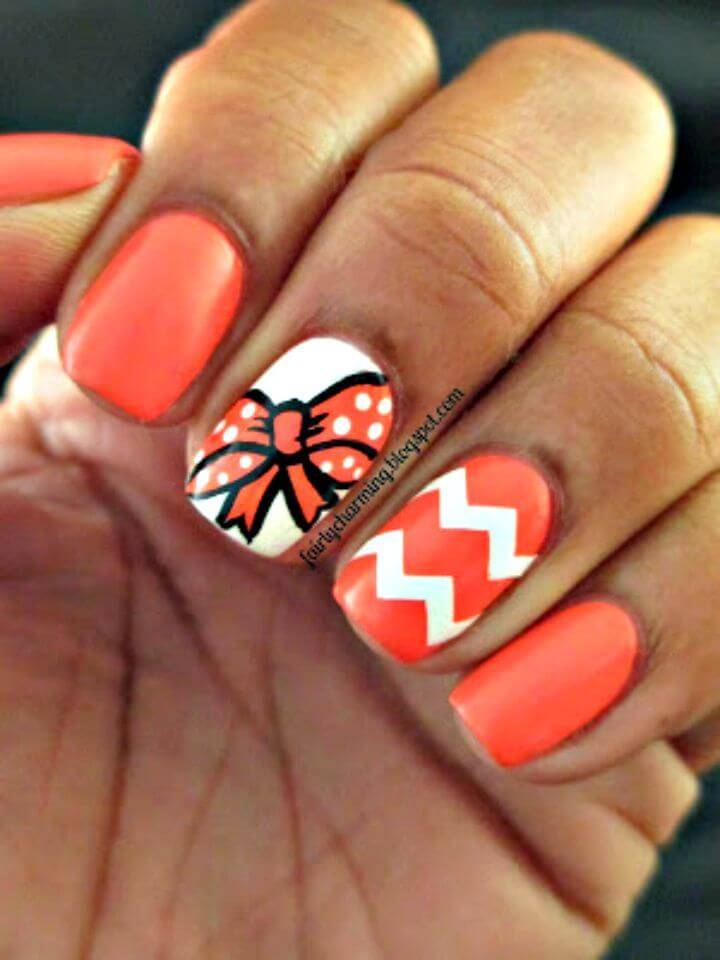 Easy DIY Bow Mani Nail Art - Free Tutorial