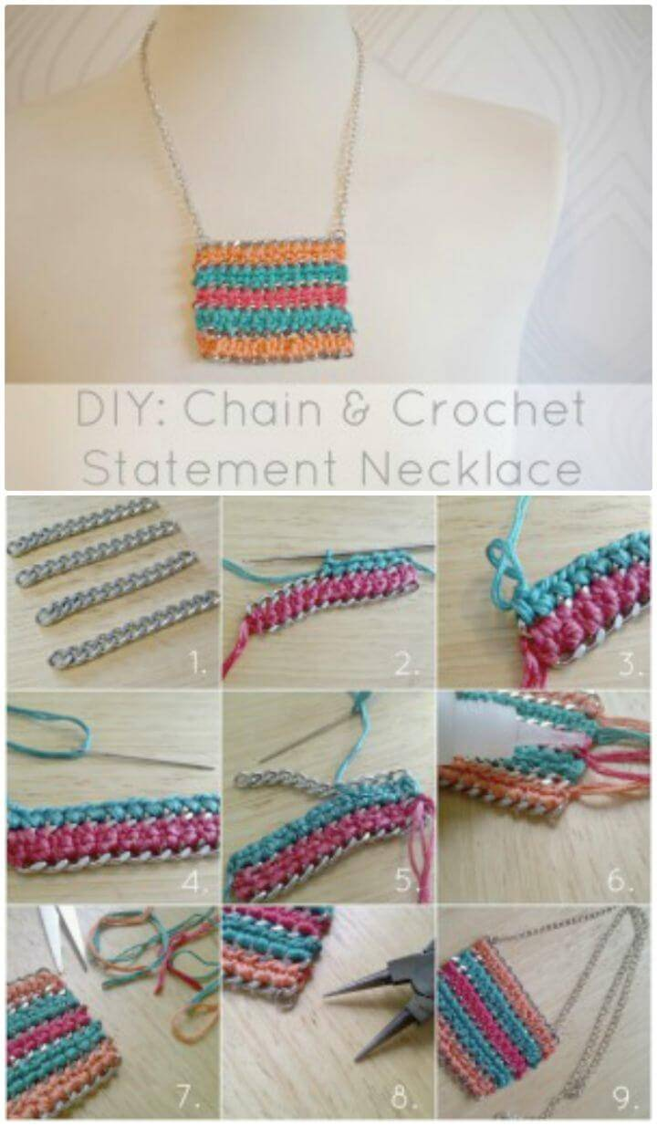 DIY Free Chain & Crochet Statement Necklace Pattern