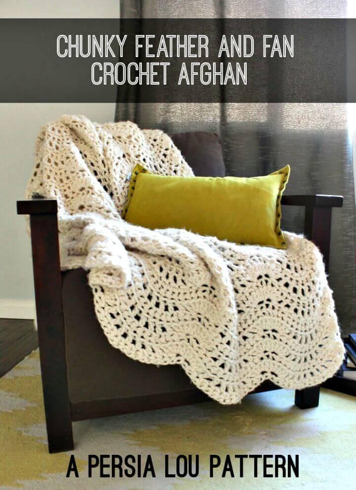 Easy Chunky Feather And Fan Crochet Blanket Free Pattern