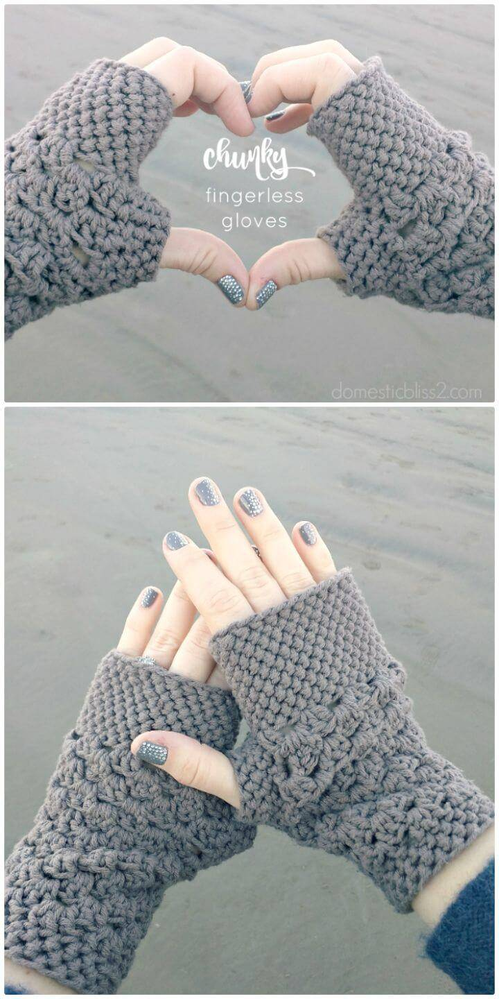 Free Crochet Chunky Finger-less Gloves Pattern