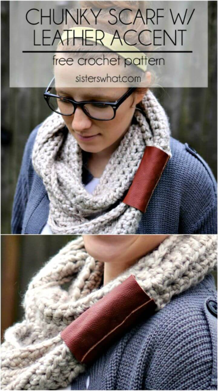 Free Crochet Chunky Scarf With Leather Accent