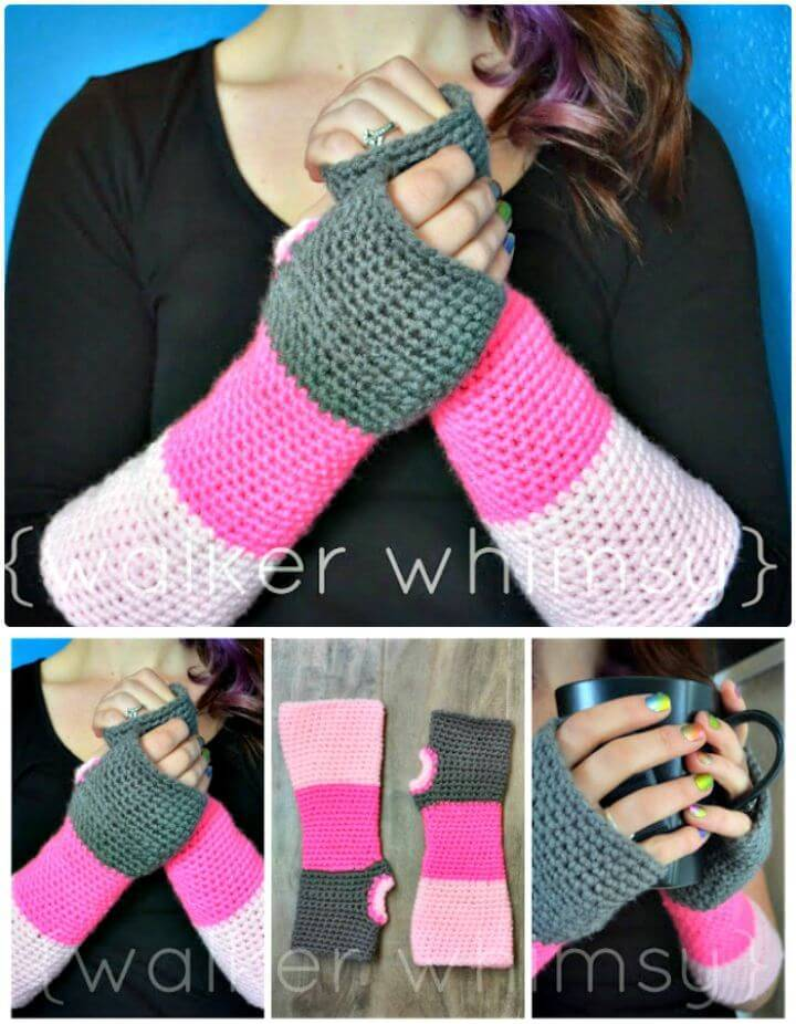 Free Crochet Color Block Finger-less Arm Warmers Pattern