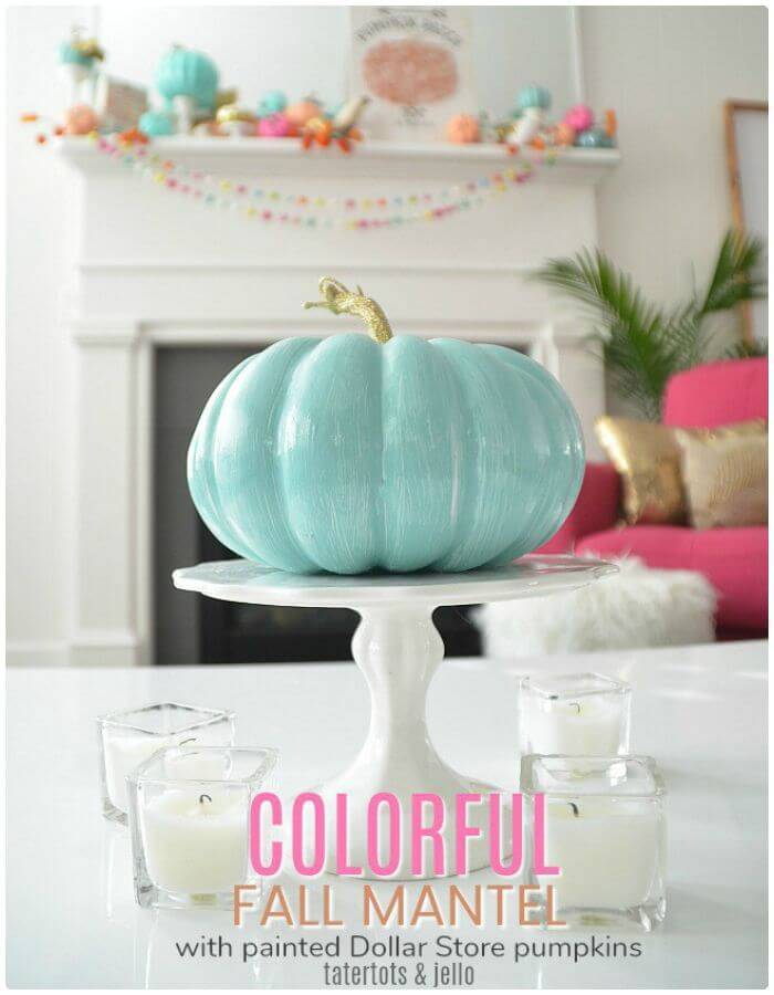 DIY Colorful Fall Mantel With Painted Pumpkins - Step By Step Instructions
