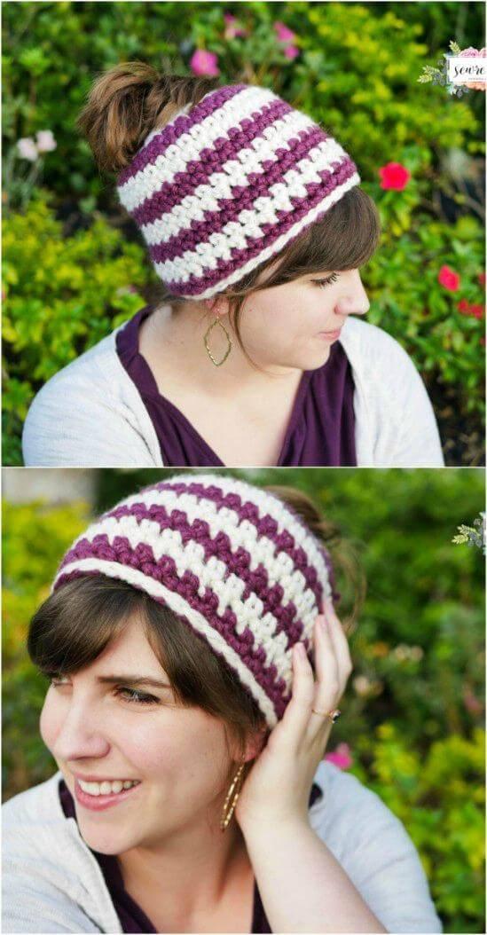 Free Crochet 1 hour Messy Bun Beanie Pattern