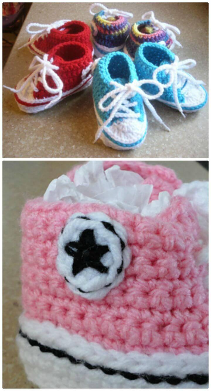 Free Crochet Baby Converse Booties Pattern