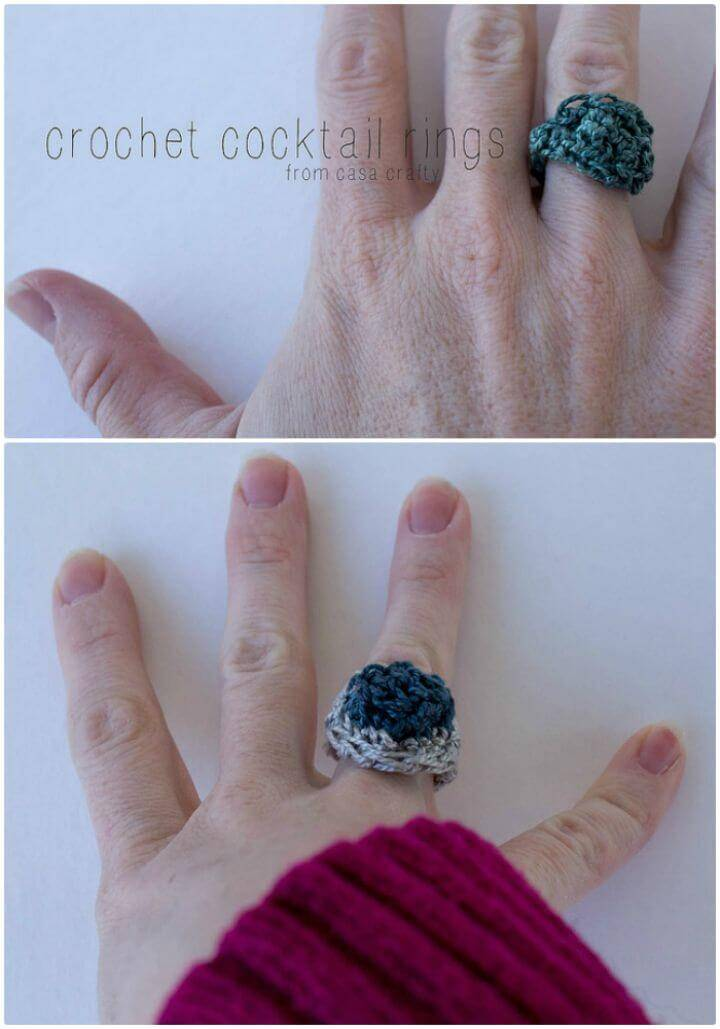 DIY Crochet Cocktail Ring - Free Pattern