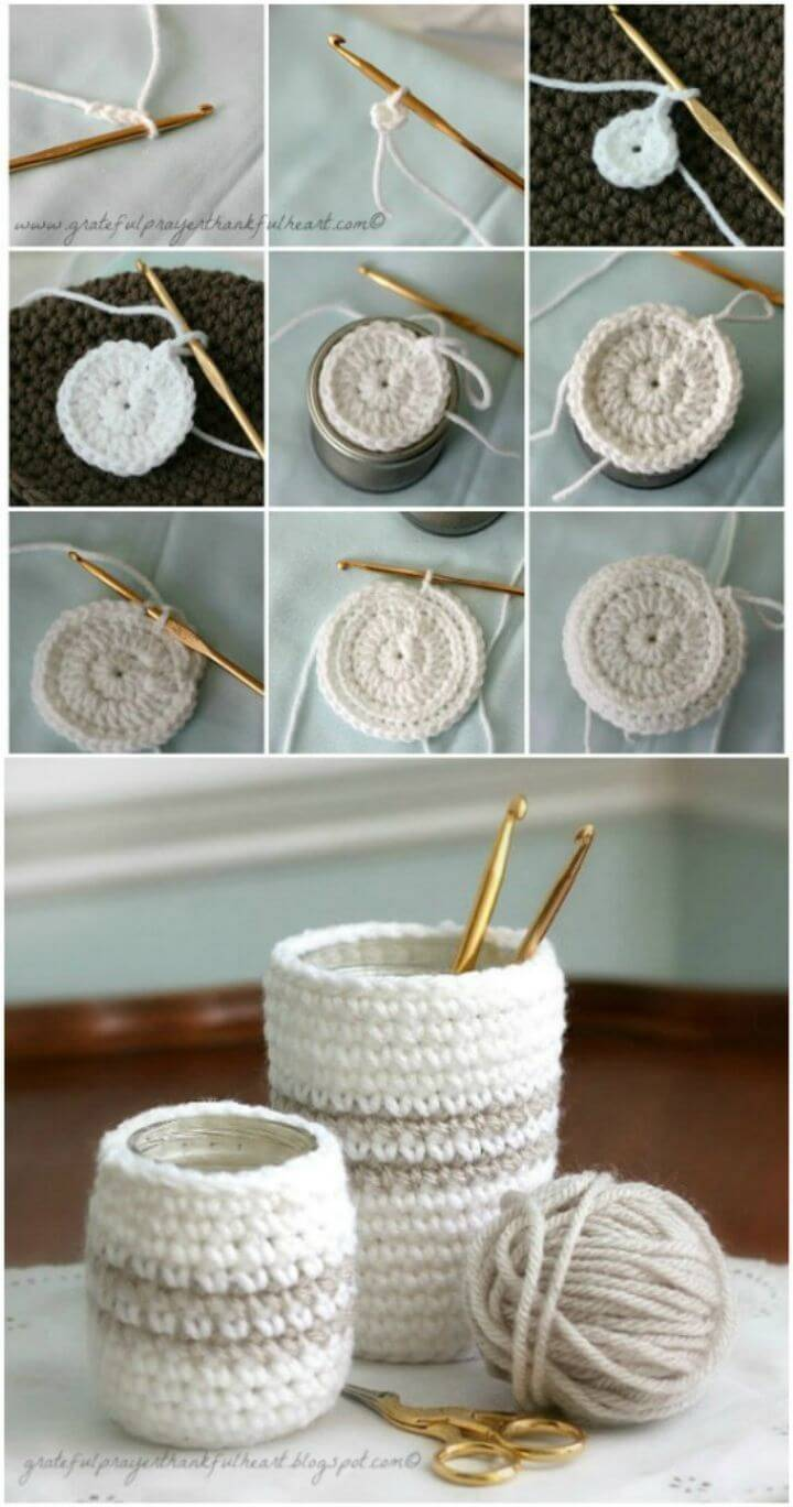 Free Crochet Cozy For Jars Or Cans