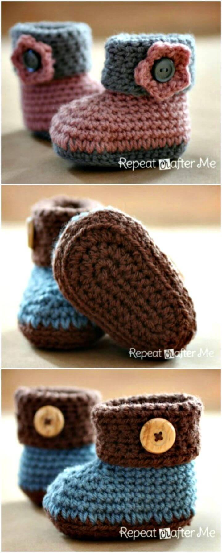 Free Crochet Cuffed Baby Booties Pattern