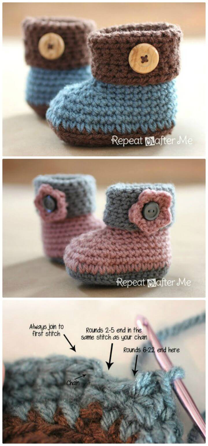 How To Free Crochet Cuffed Baby Booties Pattern