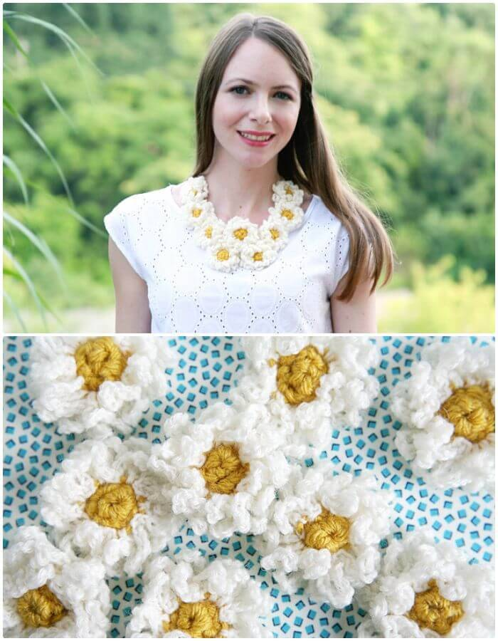 Easy Crochet Daisy Chain Necklace
