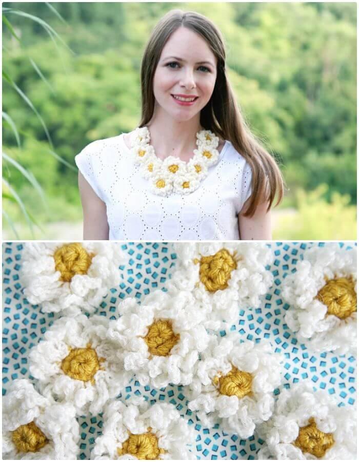 Easy Crochet Daisy Chain Necklace