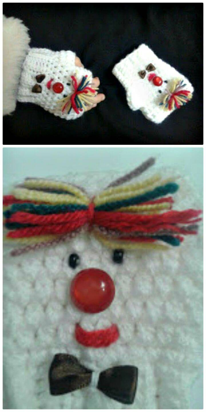Easy Free Crochet Finger-less Clown Gloves Pattern