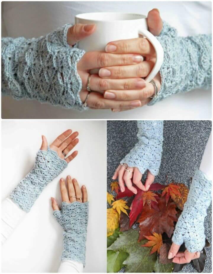 How To Crochet Finger-less Gloves - Free Pattern