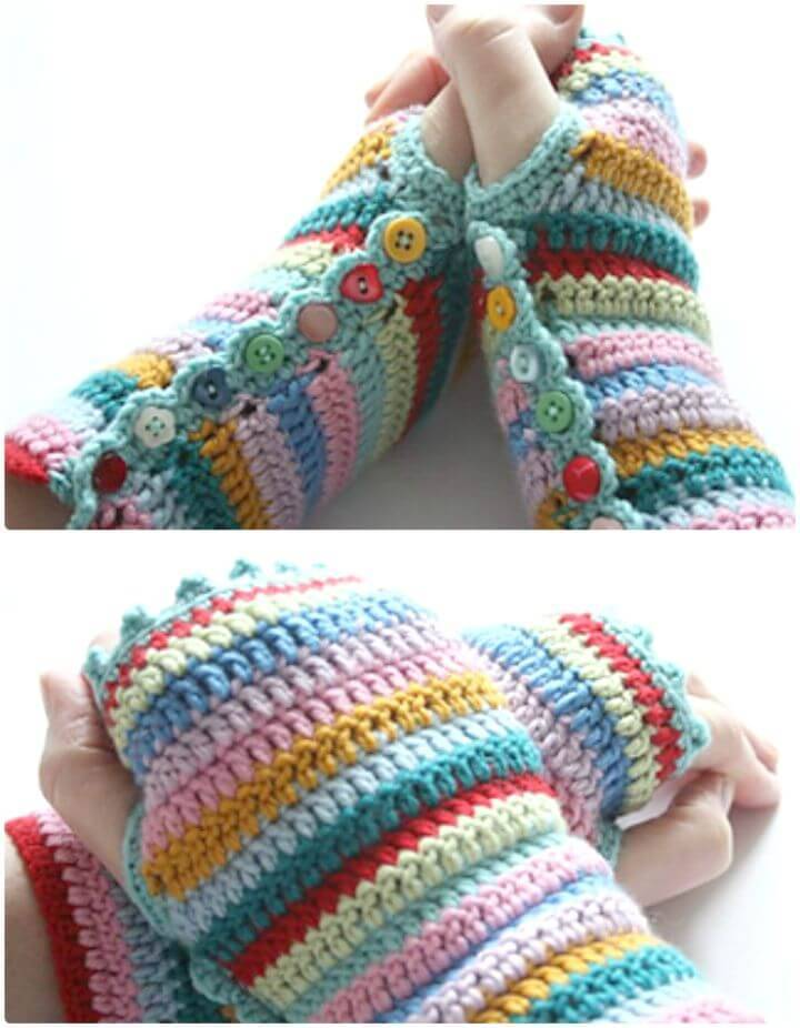 Free Crochet Finger-less Stripy Mitts Pattern