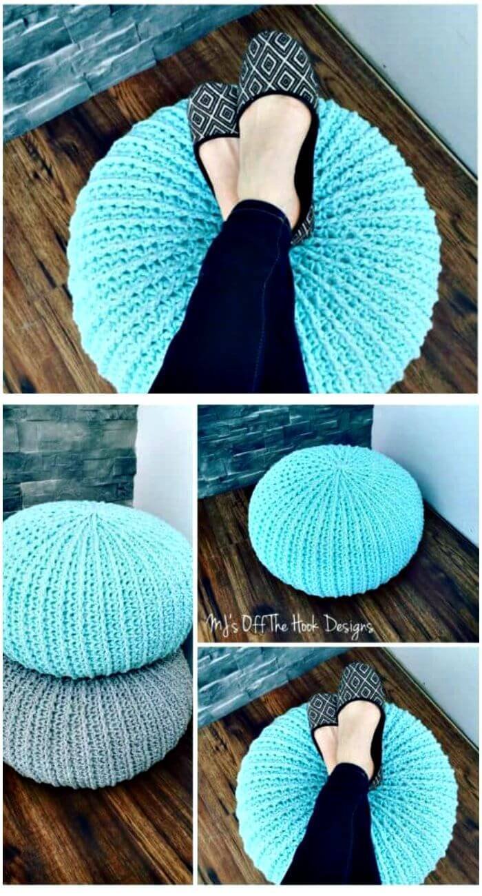 101 free crochet patterns for beginners that are super easy diy free crochet floor pouf and ottoman free patterns solutioingenieria Images