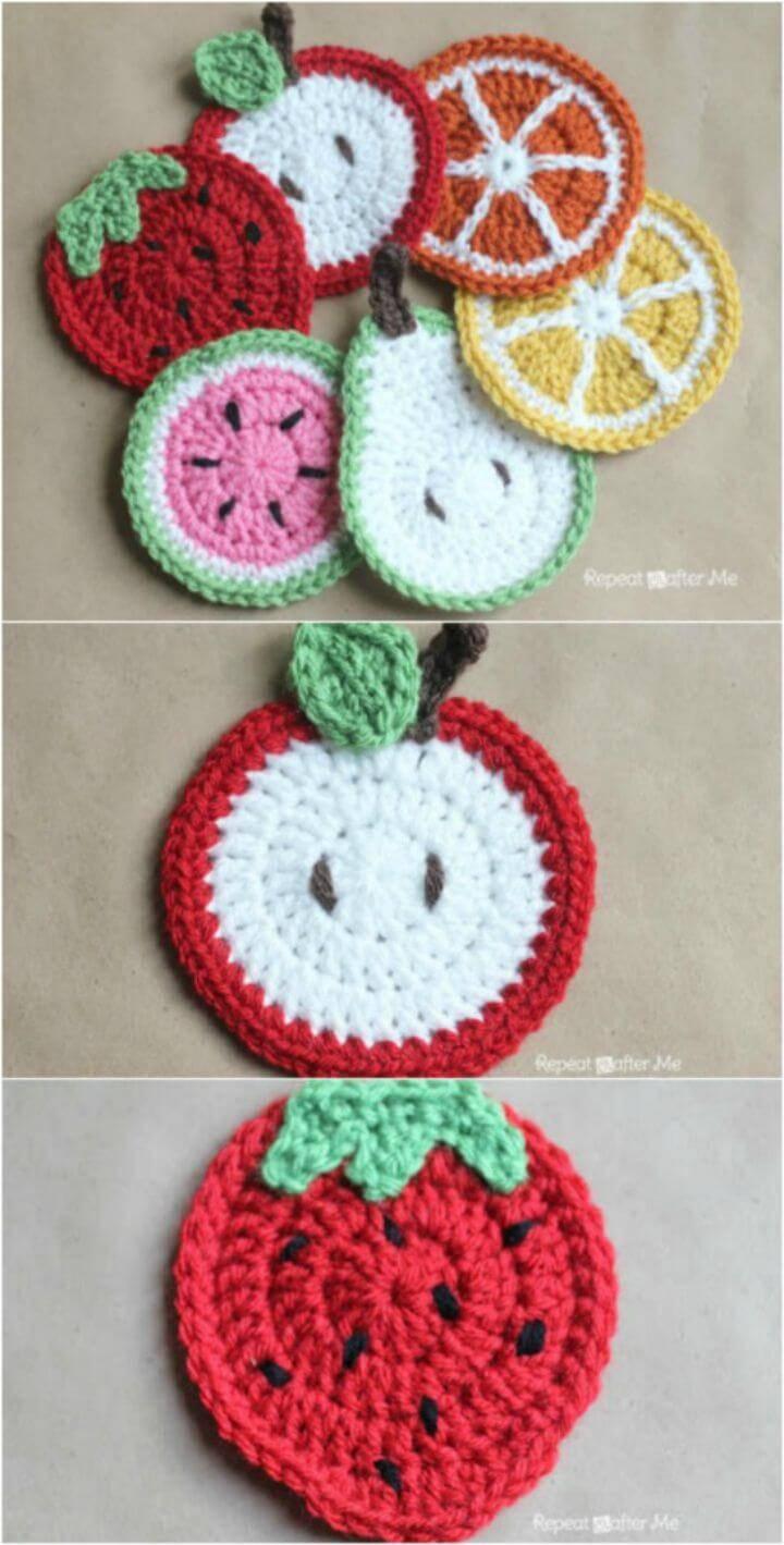 Free Crochet Fruit Coasters Pattern