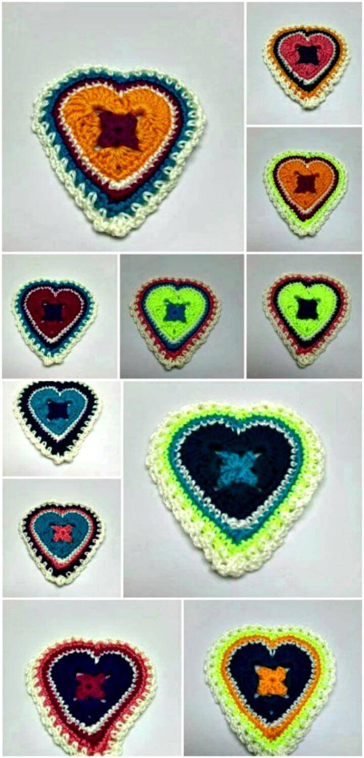 Free Crochet Granny Sweet Hearts Pattern