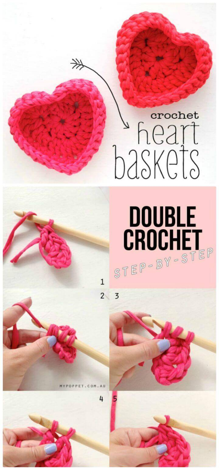 Free Crochet Heart Shaped Storage Baskets Pattern
