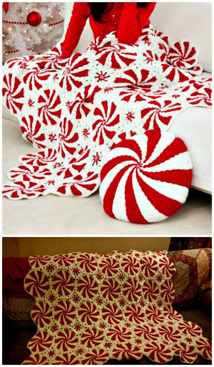 Free Crochet Peppermint Swirl Afghan Pattern