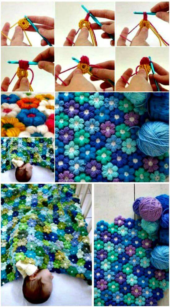 How To Crochet Puff Flower Blanket - Free Pattern