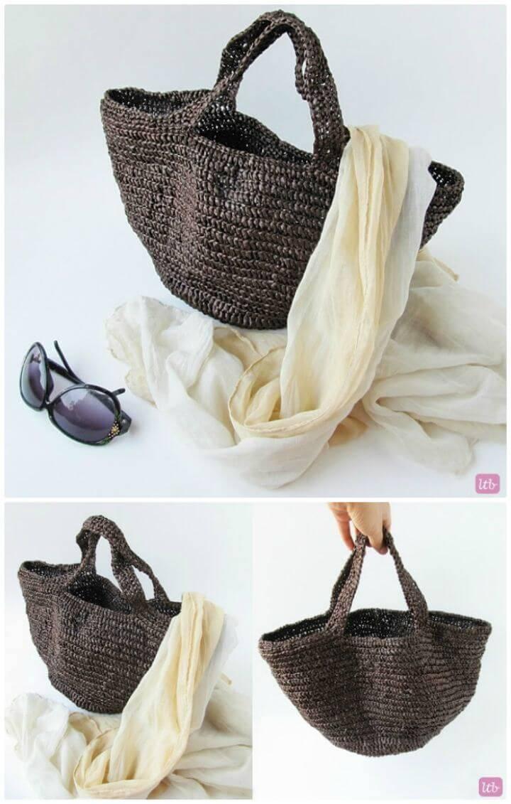Free Crochet Raffia Bag Tutorial Pattern