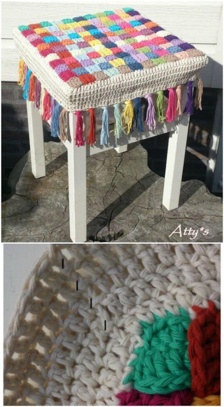Free Crochet Stool Cover Photo Tutorial