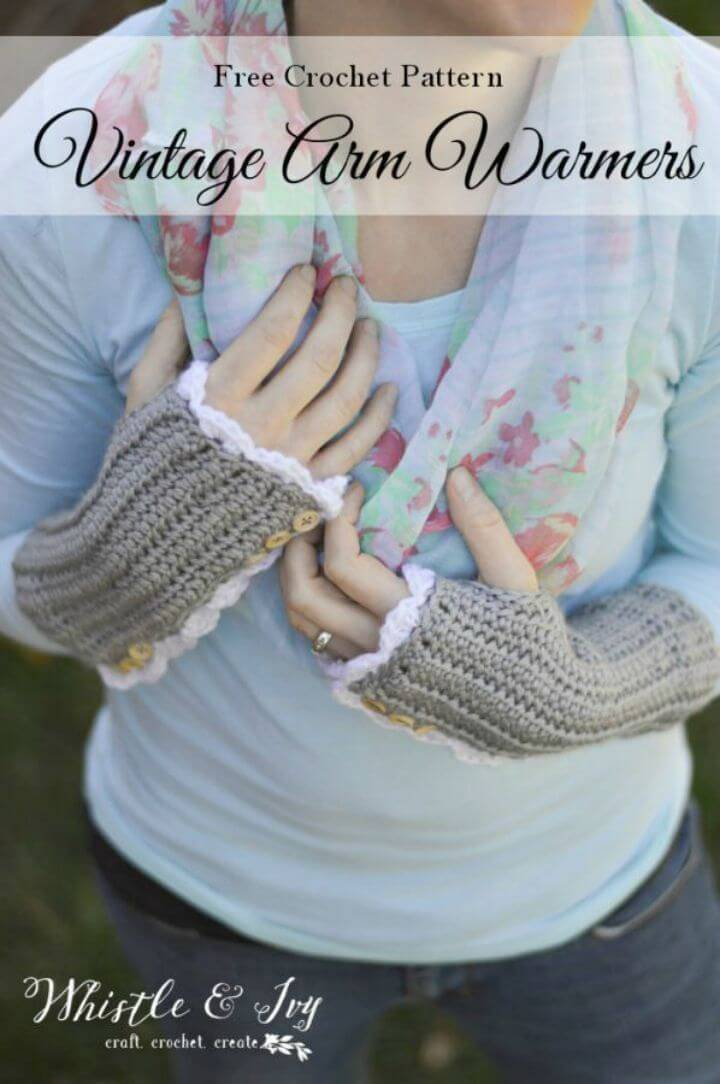 Crochet Vintage Arm Warmers With Thumb-holes - Free Pattern
