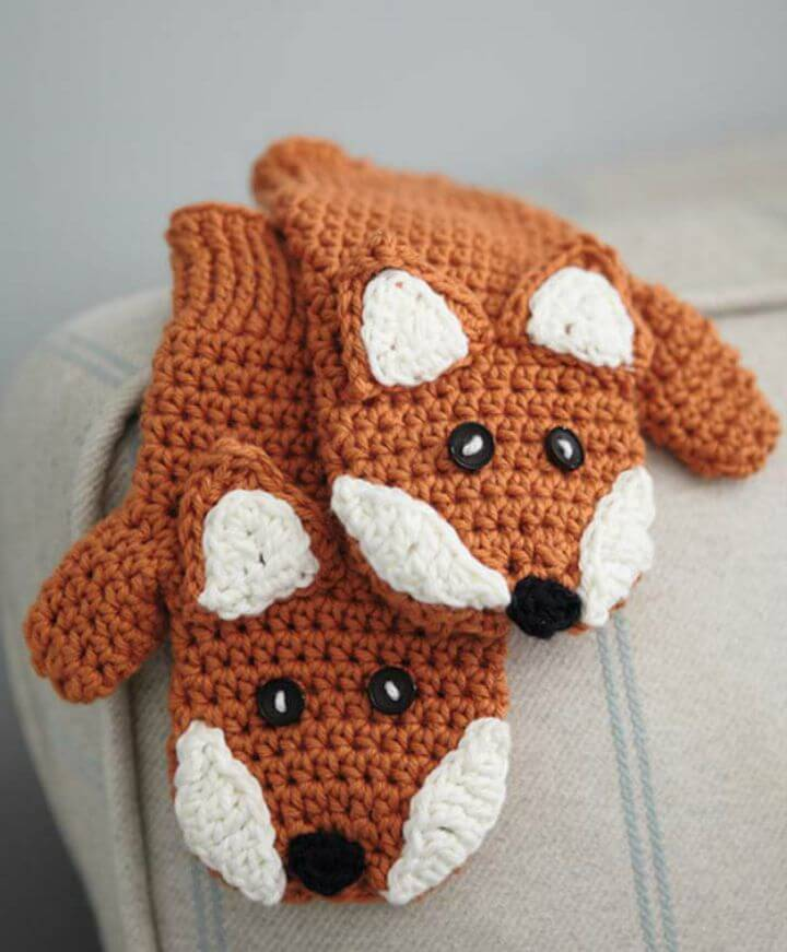 DIY Crocheted Children's Fox Mittens - Free Pattern
