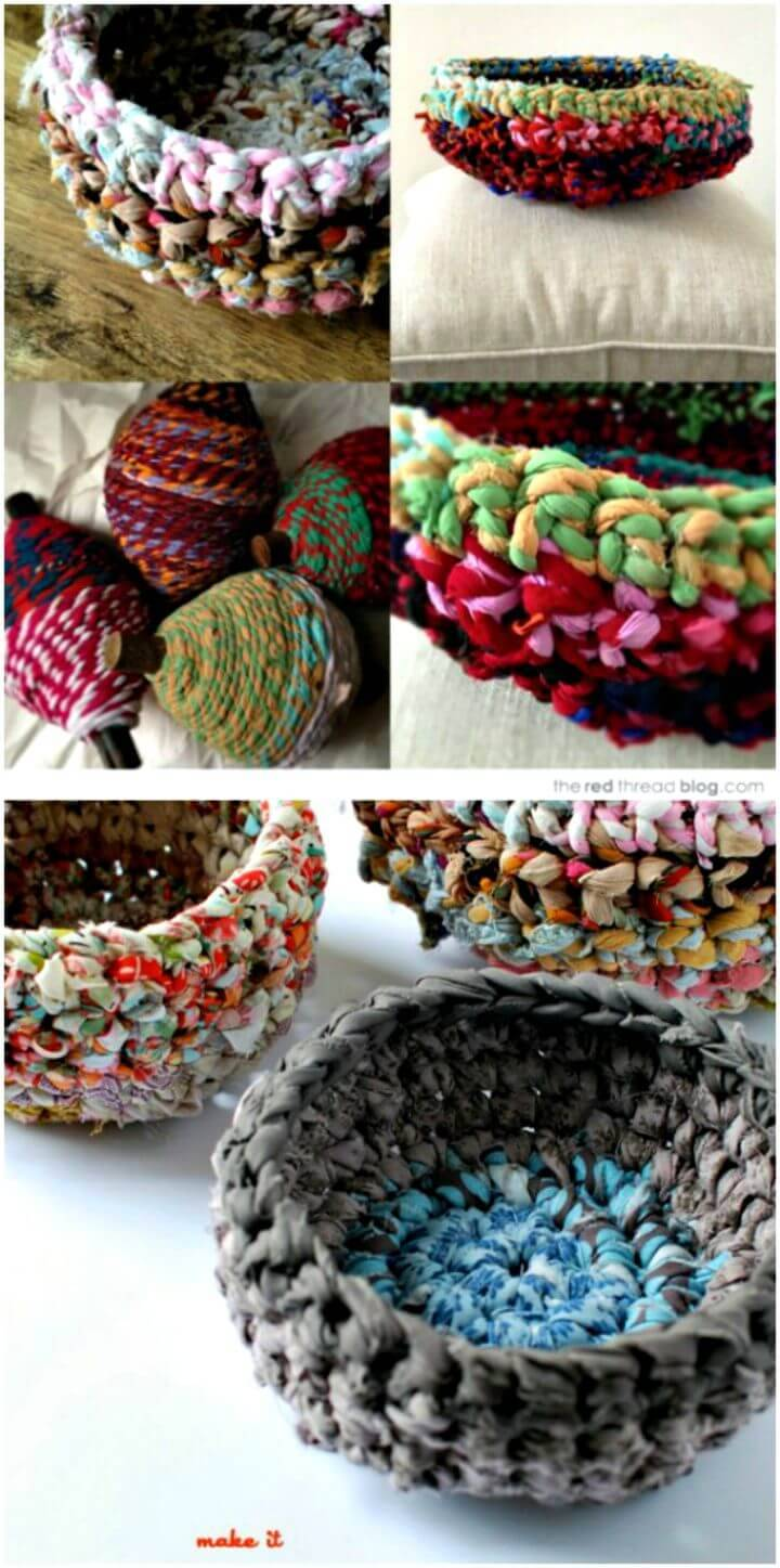 Easy Free Crocheted Fabric Baskets Pattern