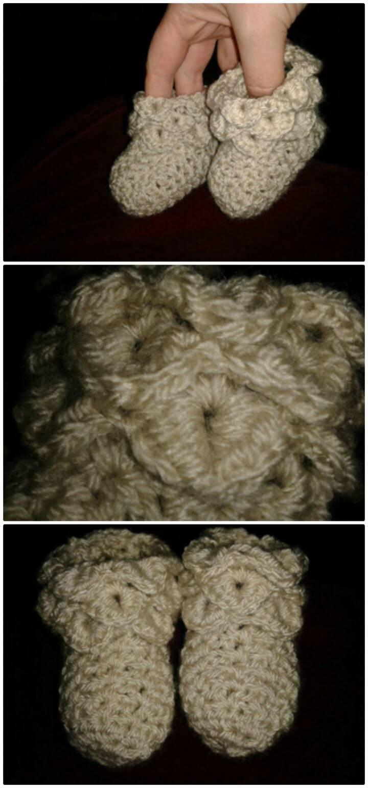 Free Crochet Crocodile Stitch Baby Booties