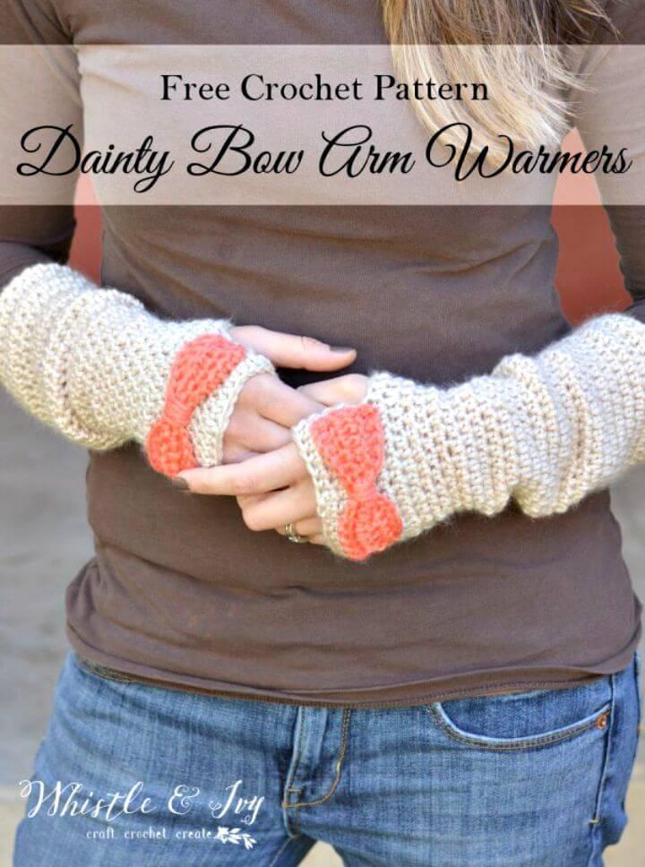 Free Crochet Dainty Bow Crochet Arm Warmers