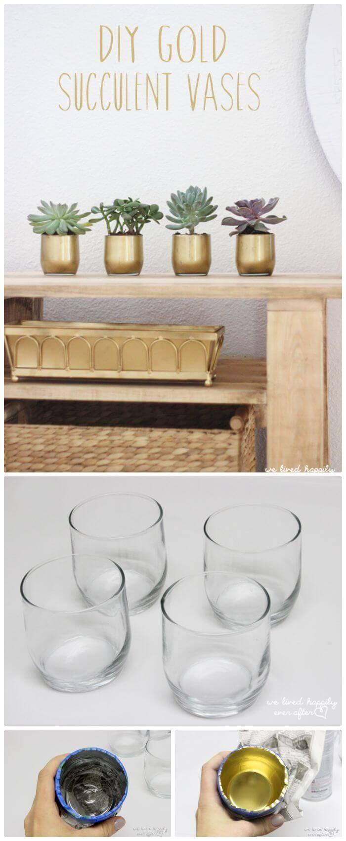 DIY Dollar Store Gold Succulent Vases