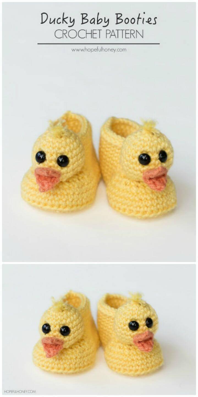 Free Crochet Duckling Baby Booties Pattern