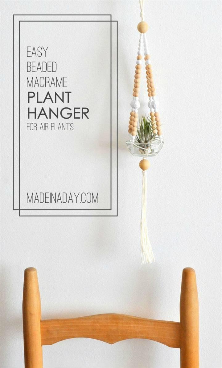 Easy DIY Beaded Macrame Plant Hanger