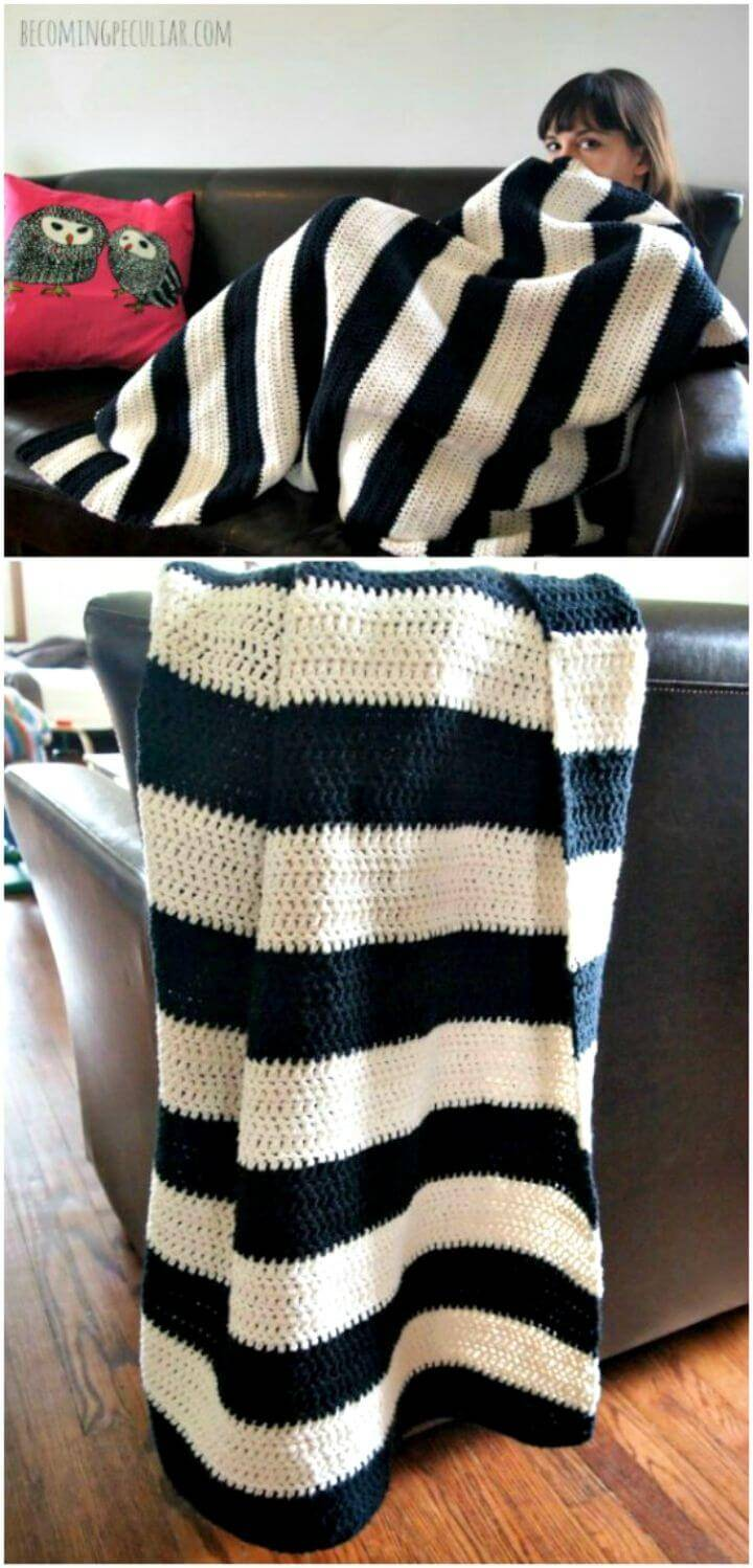 Free Crochet Easy Black And White Throw Pattern