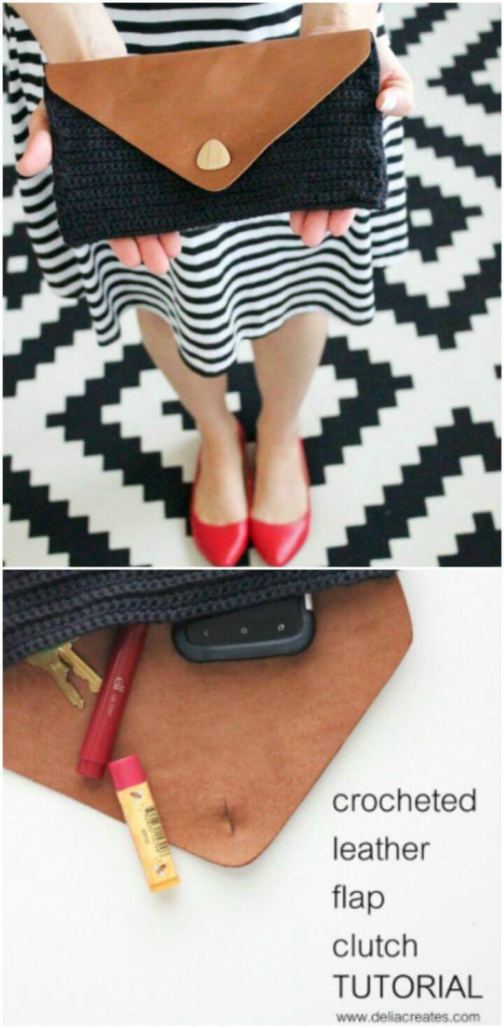 Easy Free Crochet And Leather Clutch Pattern