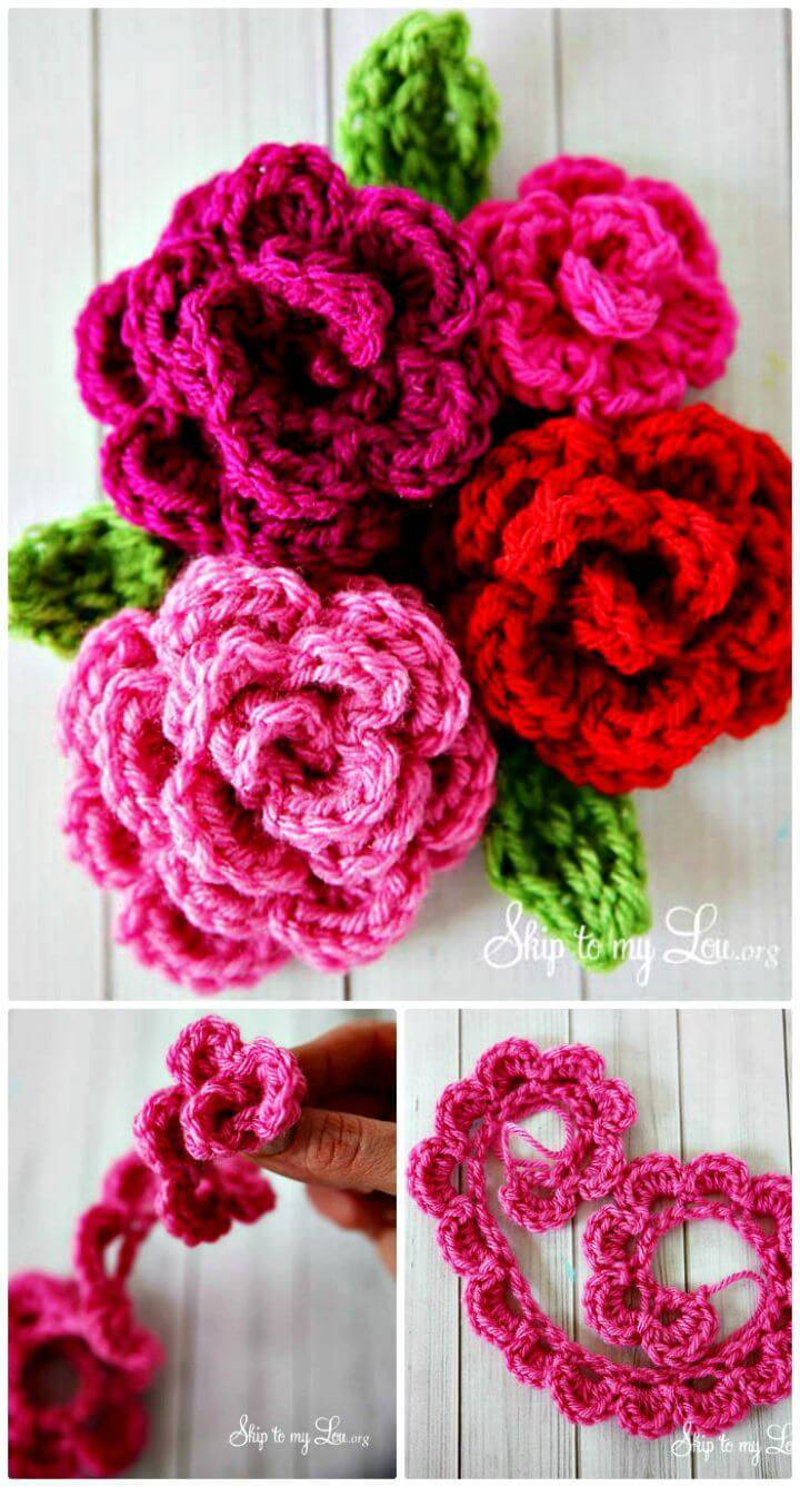 DIY Easy Rose Crochet - Free Pattern