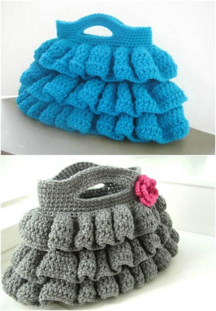 Easy Crochet Ruffled Crochet Bag Pattern