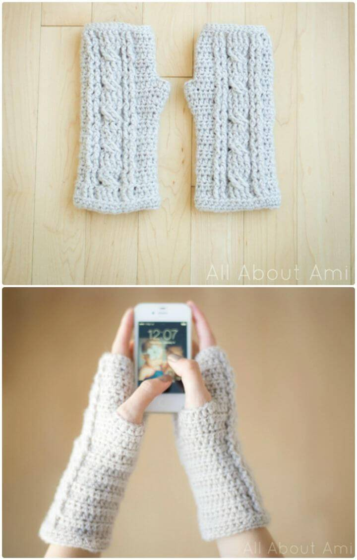 Free Crochet Fingerless Cabled Wrist Warmers Pattern