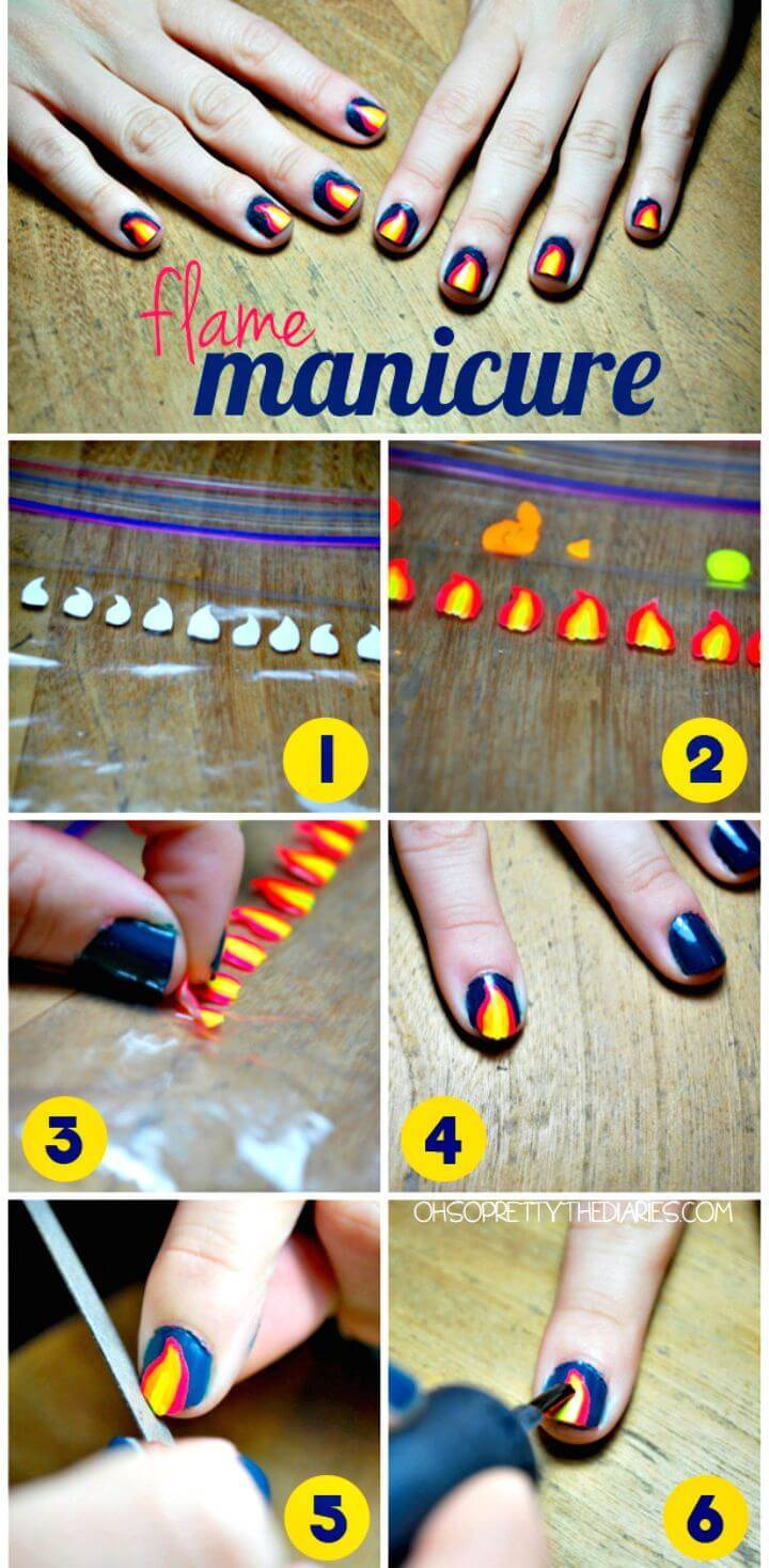 Easy DIY Flame Manicure - Free Tutorial