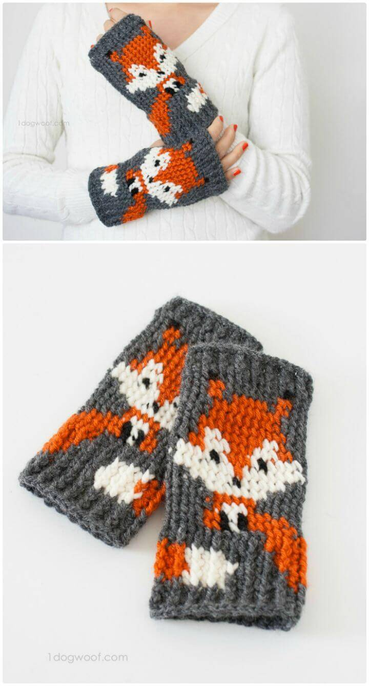 Free Crochet Fox Finger less Gloves Pattern