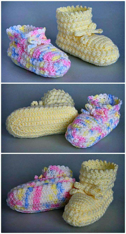 Free Crochet Daisy Stitch Bootees Pattern