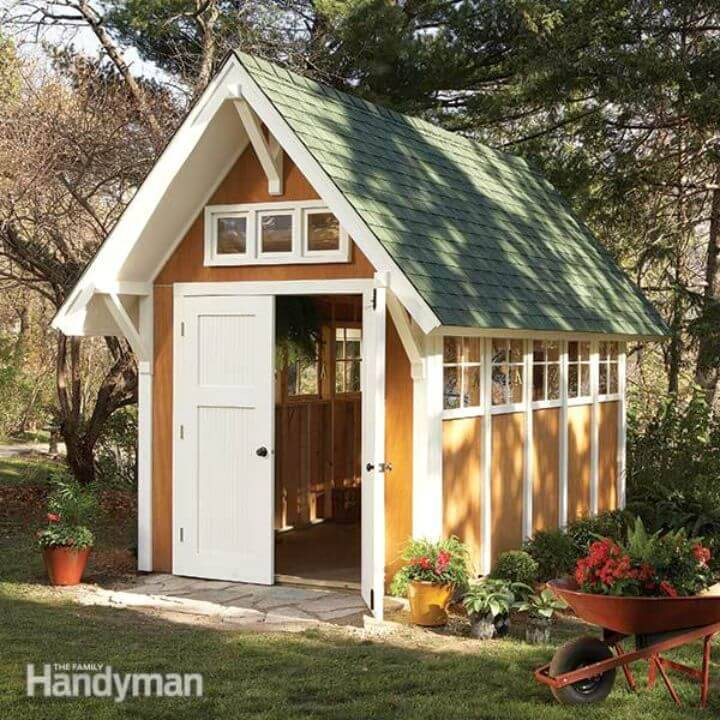 DIY Garden Shed Illustrations And Materials List - Free Plan