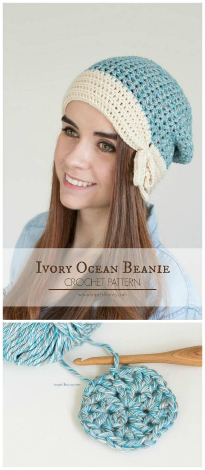 Free Crochet Ivory Ocean Beanie - Free Crochet Pattern & Yarn Review