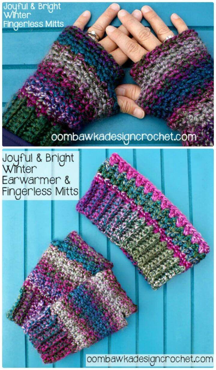 Free Crochet Joyful And Bright Winter Fingerless Mitts Pattern