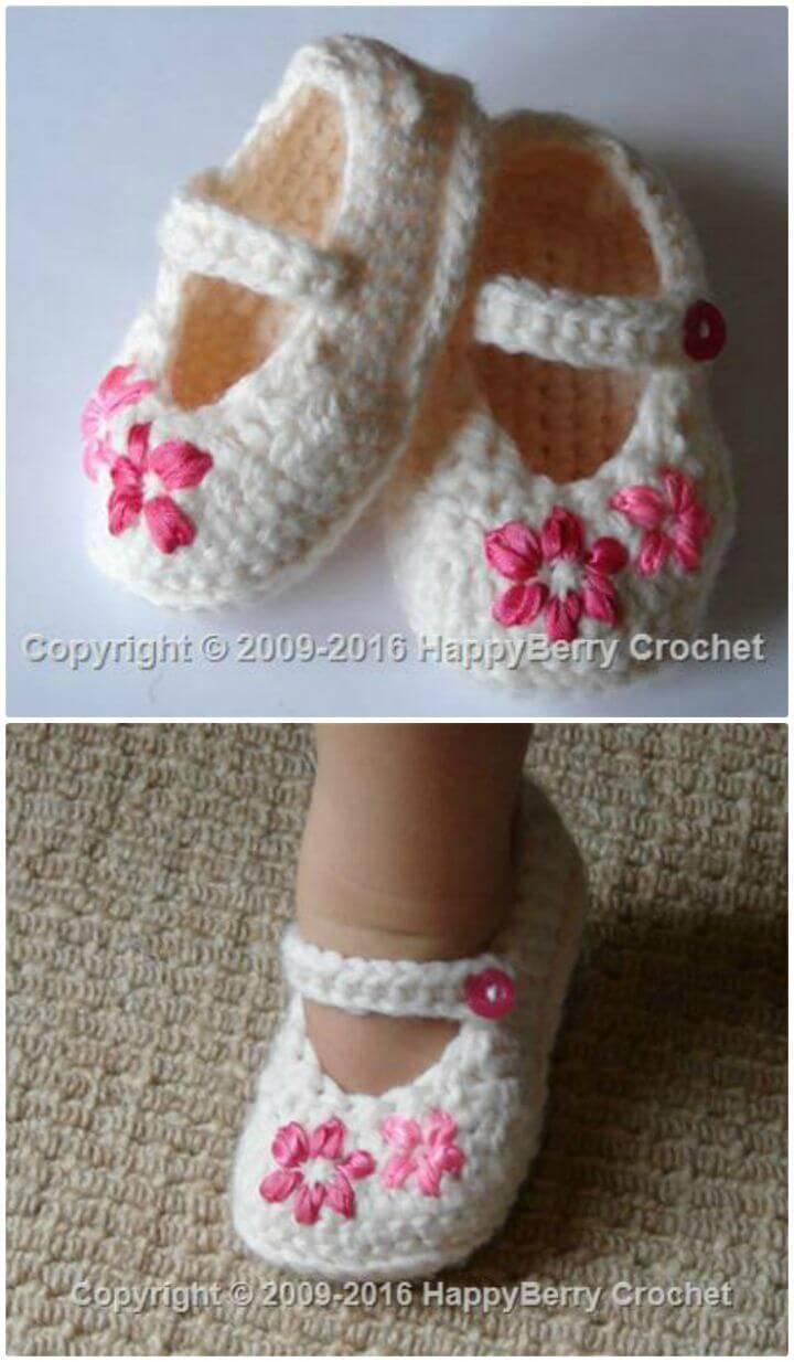 Free Crochet Lazy Daisy Girl's Shoes Pattern