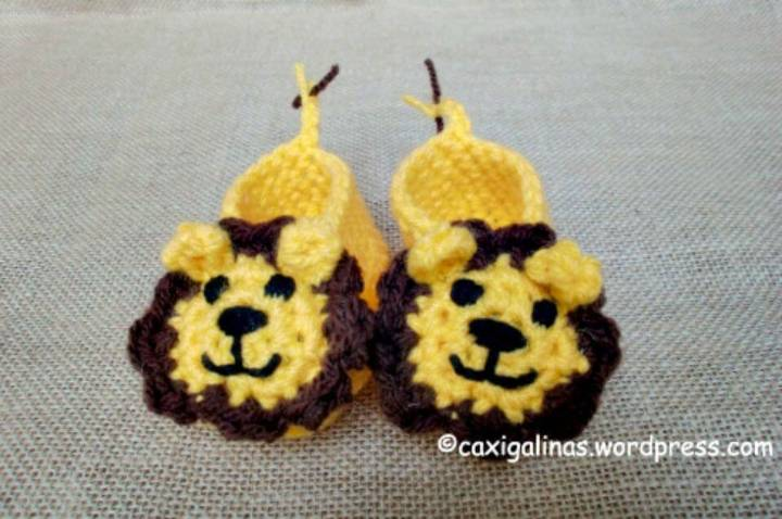 Easy Crochet Lion Booties - Free Pattern