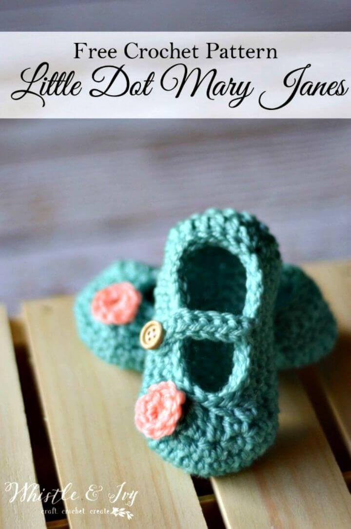 Free Crochet Little Dot Mary Janes Pattern